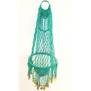 Macrame Thread Wall Hanging Mirror Green