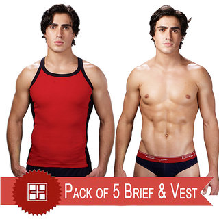 Genx pack of 5 gym vests and 5 multi coloured ultra briefs