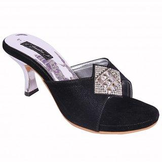 Smalto Black Burfi News Hard Buttom Party Wear Sandal For Women