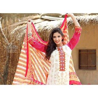Simyra Designer White salwar kameez (Unstitched)