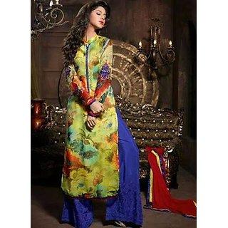 Feminine Multi Coloured Unstitched Palazzo Style Salwar Suit