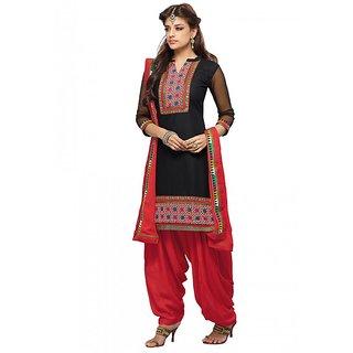 BanoRani Black Cotton Embroidered Semi Stitched Patiyala Suit