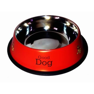 Pet club51 stainless steel stylish dog food bowl - RED 600 ML
