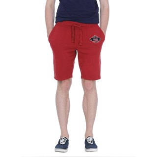 Basics Casual Plain Red Cotton Regular Knit Shorts