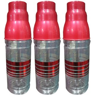 Goldcave Water Bottle-With Glass Cap-1 Litres - Set Of 3 Bottles