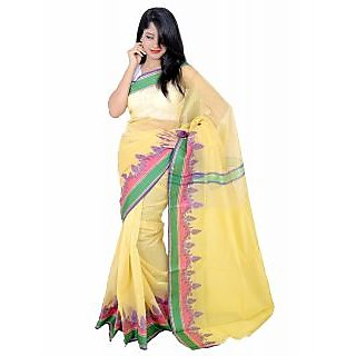 Banarasi Silk Works Sleek Light Blue and Yellow Super Net Cotton Embroidered Combo Saree