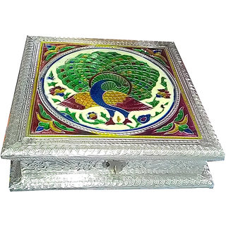 4 sections 8 inches Silver Meenakari Dryfruit  / Mukhwas box