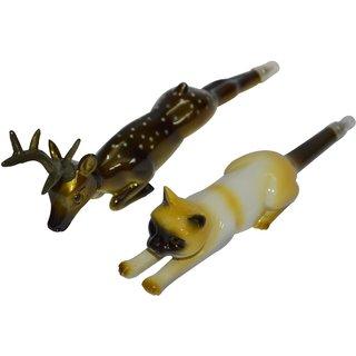 Knott Cat & Deer shape fancy writing pen Combo