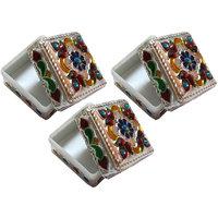Decorative Multi-purpose Jewellery / Sindoor /Silver Coin Box - Set Of 3