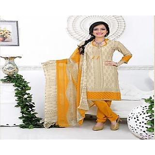 Khoobee Presents Printed Silk Chudidar Unstitched Dress Material(Cream,Multi,Yellow)