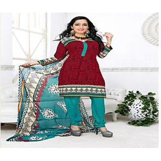 Khoobee Presents Printed Silk Chudidar Unstitched Dress Material(Red,Rama)