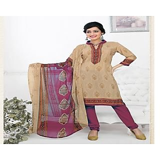 Khoobee Presents Printed Silk Chudidar Unstitched Dress Material(Chikoo,Pink)