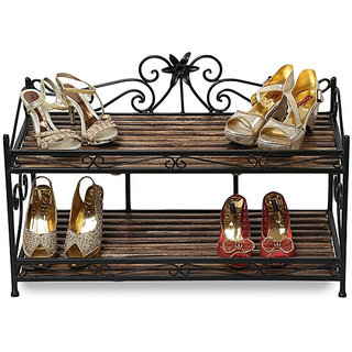 Onlineshoppee Wooden Iron Shoe Rack 2 Compartment For Home(LxBxH-32x15x22) Inch