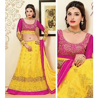 2 in 1 Pink-Yellow Salwar Kameez / Lehenga Choli Suit Embroidered Party Wear