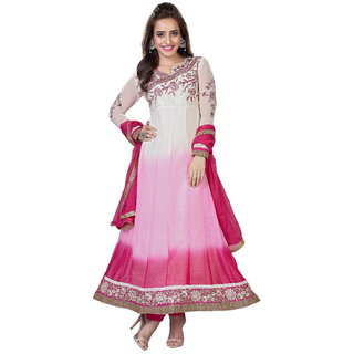 Od'in Paris Women's Pink Color Embroidered Faux Georgette Anarkali Suit