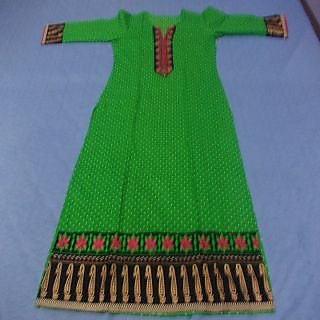 green emborided cotton kurti with polka dots.