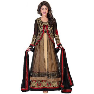 Indian-Pakistani Bollywood Actress Wedding Tan Color Embroidered Anarkali Suit