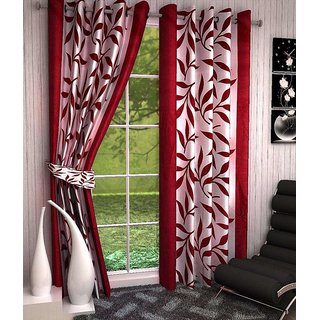 Iliv Kolaveri Polyester Maroon Floral Semi Transparent Door Eyelet Curtain (7X5 Feet) Set Of 2