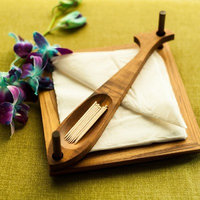 Onlineshoppee Wooden Beautiful Design 2 Compartments Wooden Napkin Holder