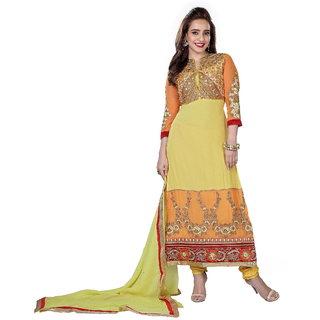 Indian Bollywood Acteress Orange Color designer Partywear Strait-Long SalwarSuit