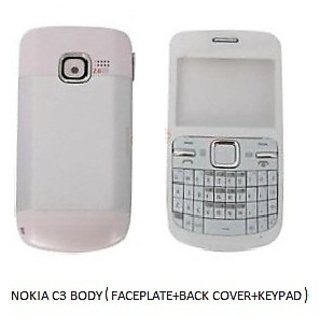 half off 06d88 9c5fd High Quality Nokia C3-00 Mobile Phone Body Faceplate, Back Cover White Color