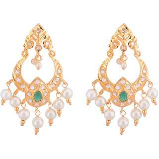 JNB Jewellers Chandbali Shape Antique Earring with Emeralds and Pearls work