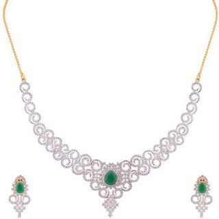 JNB Jewellers Beautiful American DIamond necklace Set with Green Emerald Stones