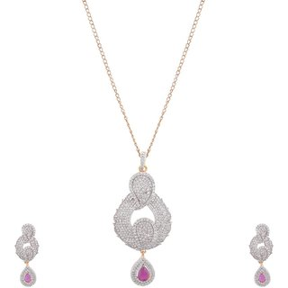 JNB Jewellers American Diamond Pendant Set with Pink Stones  without chain