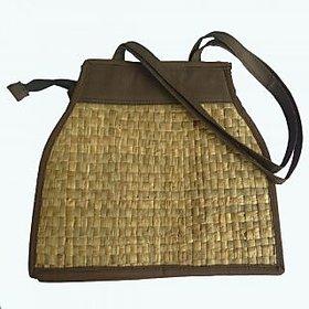 Asom Handicraft Ladies bag ( 35 cm x 24 cm x 10 cm, Brown)