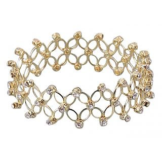 Kriaa Gold Plated Austrian Stone Stretchable Bangle