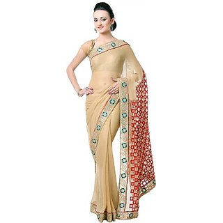 Saanvi Self Design Fashion Georgette Sari