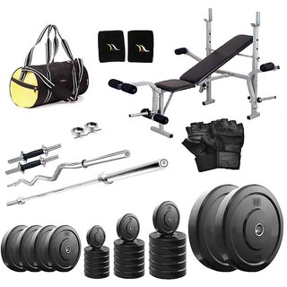 Total Gym 28Kg Home Gym + 2X14Inch Dumbbell Rods + 2 Rods + Imported 5 In 1 Multipurpose Bench + Gym Backpack + Accessories (VADA4mulbench3)