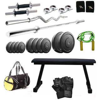 Total Gym 30 Kg Home Gym, 2 Dumbbell Rods, 2 Rods(5Ft, 3Ft Curl), Flat Bench, Gym Bag (VADoSET-FLAT7)