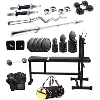 Total Gym 36 Kg Home Gym Set With 2 Dumbbell Rods, 2 Rods, 3 In 1 Bench And Gym Bag (vadobagI-D-F10)