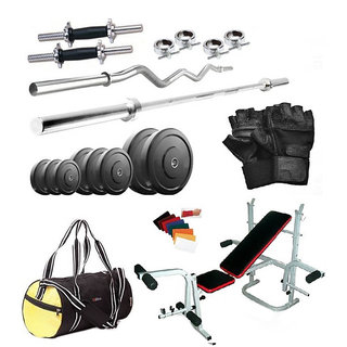 Total Gym 72Kg Home Gym + 2X14Inch Dumbbell Rods+ 2 Rods + Imported 5 In 1 Multipurpose Bench + Gym Backpack + Accessories (large4mulbech22)