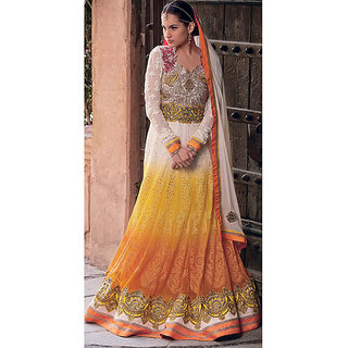 Designer long Bollywood style partywear anarkali semi stitched suit piece