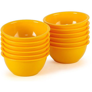 Microwave Safe Plastic Bowls Set Yellow 12 Pc