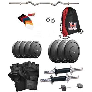 Total Gym 36 Kg Home Gym Weight Plates Including 3Ft Curl Rod With 2 X14 Inch Dumbell Rods And Red Gym Bag (lalpipe1GW14)