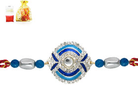 Mahi Rhodium Plated Fancy Peacock Rakhi with crystals BR1100526R