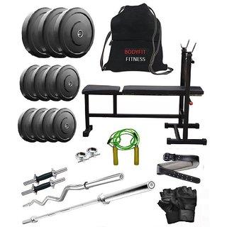 Total Gym 20 Kg Home Gym, 2 Dumbbell Rods, 2 Rods(1 Curl), 3 In 1 (I/D/F) Bench, Gym Bag, Gym Belt (SMOLGWRbeltI-D-F3)