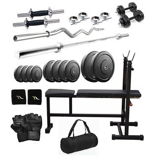 Total Gym 36 Kg Home Gym, 2 Dumbbell Rods, 2 Rods(1 Curl), 3 In 1 (I/D/F) Bench With Gym Bag (BIGObagI-D-F10)