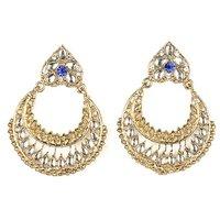Kriaa Kundan Chandbali Blue Earrings