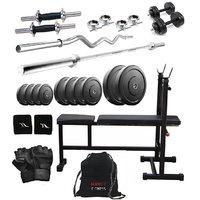 Total Gym 22 Kg Versatile Home Gym, 2 Dumbbell Rods, 2 Rods(1 Curl), 3 In 1 (I/D/F) Bench And Gym Bag (SMOLpackI-D-F4)