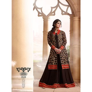 Zareen Khan Georgette Black Semi Stitched Anarkali Suit