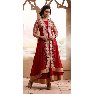 Rakul Preet Georgette Red Semi Stitched Anarkali Suit