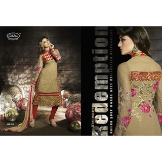 Partywear straight cut designer embroidered suit piece with Sleeves & back work