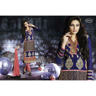 Georgette designer fully embroidered georgett partywear straight cut  suit piece