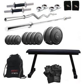 Total Gym 40 Kg Home Gym, 2 Dumbbell Rods, 2 Rods(5Ft, 3Ft Curl), Flat Bench, Gym Bag (CHuTAGW-FLAT12)