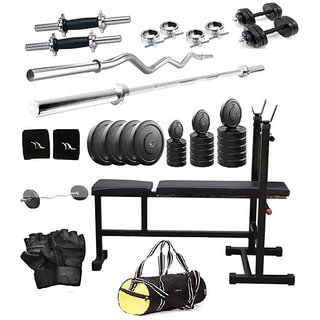 Total Gym 32 Kg Versatile Home Gym Set With2 Dumbbell Rods, 2 Curl, 3 In 1 Bench And Gym Bag (bigvpackI-D-F8)