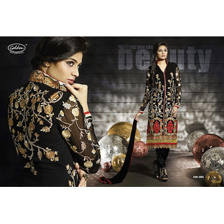 Bollywood style designer fully embroidered Black straight cut suit piece